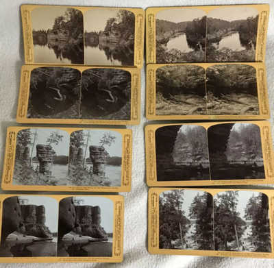 (8) H.H.Bennett, Wisconsin Dells Photographer Stereoviews