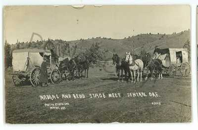 RPPC Madras Bend Stage Stagecoach Central Oregon OR Real Photo Postcard