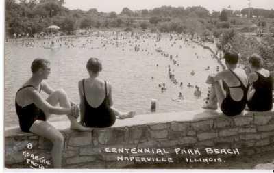 10 RPPC Postcards Memorial Park Beach Naperville Illinois