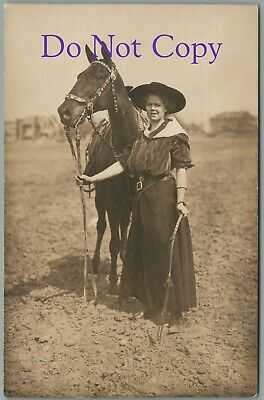 WESTERN COWGIRL LUCILLE MULHALL WITH HORSE - EARLY REAL PHOTO RPPC POSTCARD