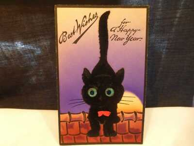 Vintage Felt Add On Black Cat Postcard-Great Big Eyes- Pub by S. Gabriel