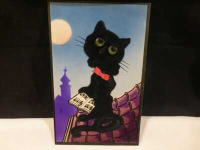 Vintage Blk Felt Cat Add On Postcard-Halloween?-Pub By Alfred Stiebel-London