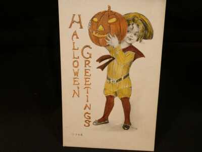 Vintage Halloween Postcard-Handsome Lad W/ Big JOL-By Gartner & Bender