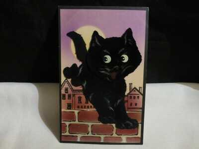 RARE Blk Felt Cat Add On Halloween Postcard-Head Spring Attached-By Gabriel
