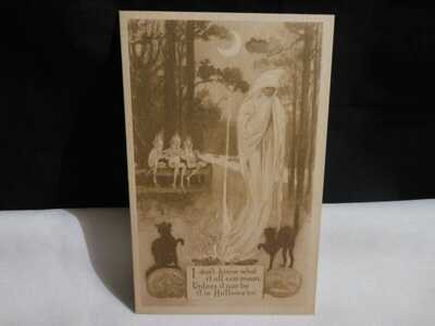 Vintage HTF-Ghost & Imps, Cats & JOL's Halloween Postcard-Sepia- MINT-Gibson
