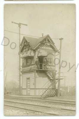 RPPC PRR Pennsylvania Railroad Tower Station PIERCETON IN Real Photo Postcard