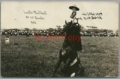 COWGIRL LUCILLE MULLHALL at 101 RANCH ~ 1909 J.V. DEDRICK RPPC POSTCARD
