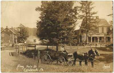 RPPC Real Photo Postcard Along Main Street Colebrook, Pa. Lebanon County