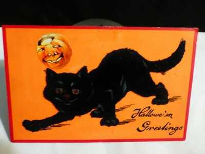 RARE Vintage Black Felt Cat Add On Halloween Postcard-by Sam Gabriel