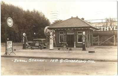 RPPC Real Photo Postcard Pure Service Station 15th &Cumberland Sts. Lebanon, Pa.