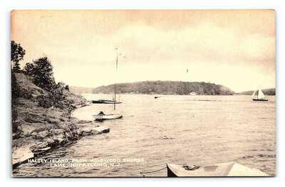 Vintage Postcard Halsey Island Wildwood Shores Lake Hopatcong New Jersey M1