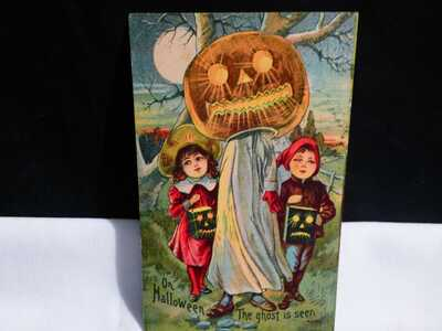Vintage HTF Halloween Postcard- The Ghost is Seen- Great Card- Pub. by Unknown