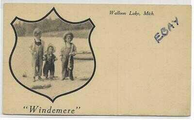 RPPC Ernest Hemingway and sisters at Windemere, Walloon Lake, Michigan, c1905,