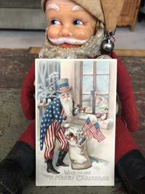 True Vintage Antique Christmas Post Card Uncle Sam Patriotic American Flag