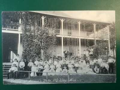 Group at Allison's Wells Hotel Way Mississippi Antique Rotograph Postcard RPPC