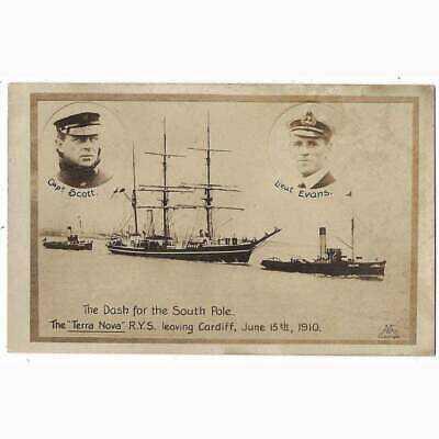 SOUTH POLE EXPEDITION Terra Nova Leaving Cardiff 1910, RP Postcard Unused