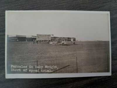 VTG POSTCARD~PHOTO~LOS ANGELES AVIATION AIRSHOW~PARMELEE IN WRIGHT AIRPLANE~1910