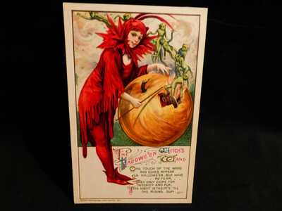 SCARCE-Winsch Pixie Lady W/Green Elves Flying Out of Fiery JOL W/Touch of Wand