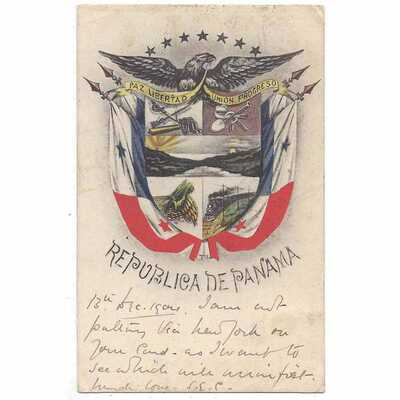 PANAMA Coat of Arms of the Republic Postcard, Postmark 1904
