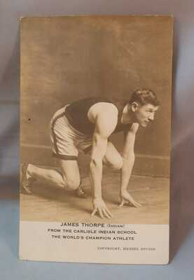 Real Photo Postcard Jim Thorpe, Carlisle Indian School PA, Sports Track