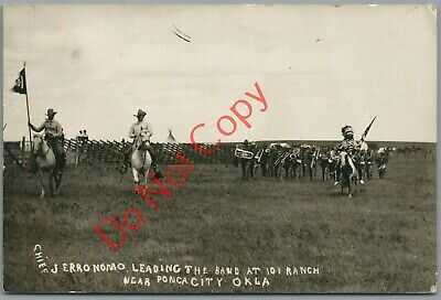 CHIEF WHITE CLOUD (NOT GERONIMO) ~ 101 RANCH PARADE ~ 1910 FORD OK RPPC POSTCARD