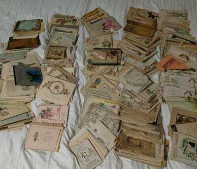 VINTAGE GREETING CARD LOT 523 HAND PAINTED 1920S UNUSED
