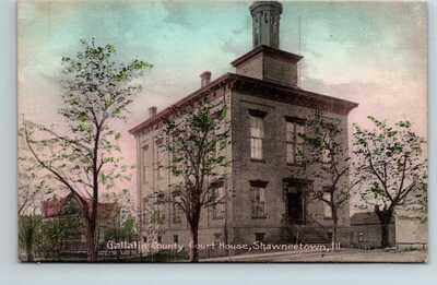 postcard Gallatin County Court House Shawneetown Illinois Kraemer Art Co.
