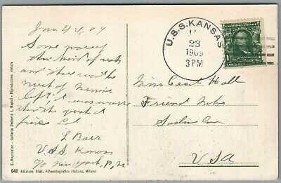 GREAT WHITE FLEET ~ USS KANSAS, JAN. 23, 1909, POSTAL HISTORY ~ POSTCARD