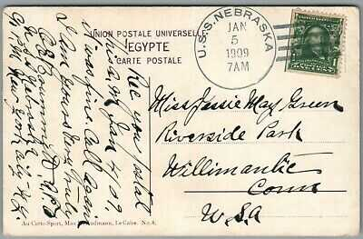 GREAT WHITE FLEET ~ PORT SAID, EGYPT, JAN 5, 1909 POSTAL HISTORY ~ ~ POSTCARD