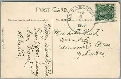 GREAT WHITE FLEET ~ USS GEORGIA, FEB 6, 1909 POSTAL HISTORY ~ GIBRALTAR POSTCARD
