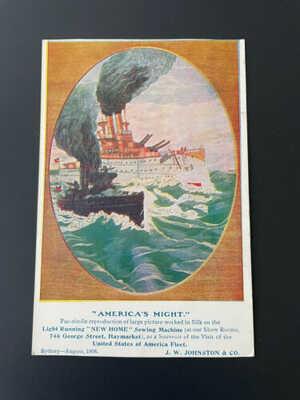 GREAT WHITE FLEET ~ AMERICA'S MIGHT SHIPS ~ SYDNEY, AUG 1908 ~ JOHNSTON POSTCARD