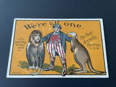 GREAT WHITE FLEET ~ HOTEL ARCADIA, SYDNEY NSW AUSTRALIA ~ 1908 SOUVENIR POSTCARD