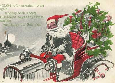 Santa Claus Black Americana Driving Car Toys Glitter Christmas c1905 P205