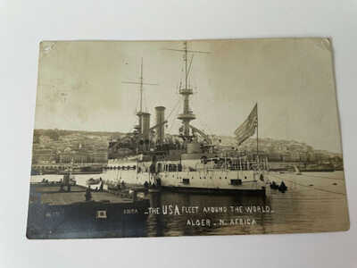 ALGER, NORTH AFRICA ~ USS KENTUCKY SHIP ~ 1909 GREAT WHITE FLEET RPPC POSTCARD