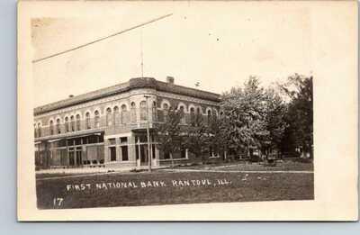 RPPC Real Photo Postcard First National Bank Rantoul Illinois Champaign county