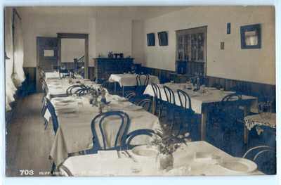 Hupp Hotel dining room, Estes Park, Colorado; real photo postcard RPPC