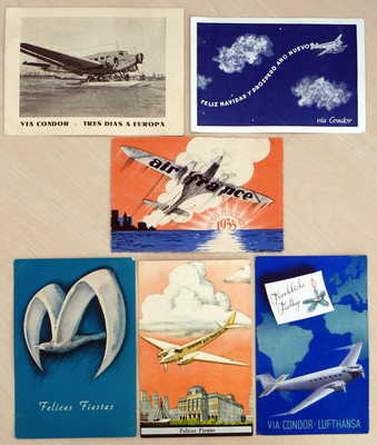 ARGENTINA TO SWITZERLAND BY CONDOR COMPANY 6 NICE AIR MAIL POSTCARDS 1934-1940