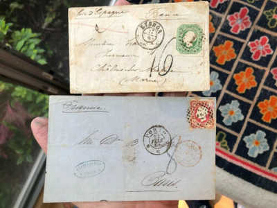 2 Rare 1865 & 1866 Portugal Postal Cover To France Each W/ Surcharge