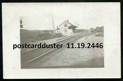 2446 - METAGAMA Ontario 1910s Ghost Town. CPR Train Station. Real Photo Postcard