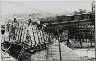 Sidney,Ohio-Construction of Railroad Bridge South of Cemetery jh37
