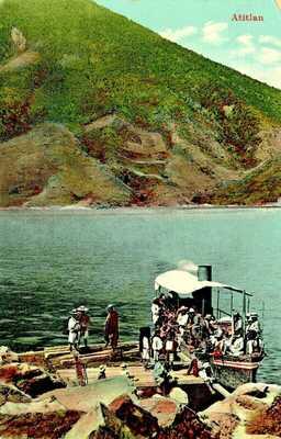 old postcard GUATEMALA - LAKE ATITLAN - STEAMER on the Lake - 1913 glossy card