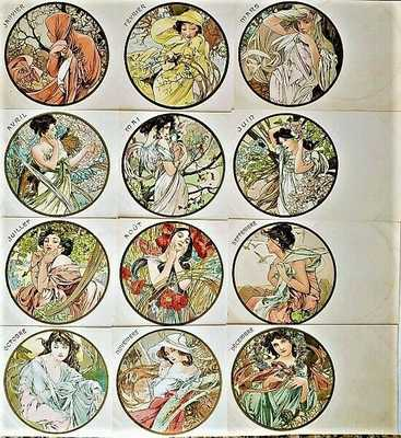 "Rare 1900 SET OF TWELVE ""MONTHS OF THE YEAR"" POSTCARDS Alphonse Mucha Signed"