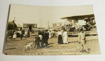 Lincoln, NEB.  State Fair Grounds, Amusement Court. Real Photo Postcard. Exc.
