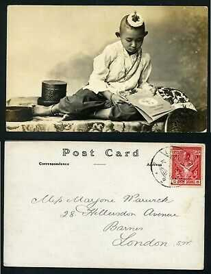 Siam Thailand ethnic boy top knot hair 1912 real photo postcard Asia child