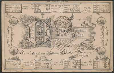 "Judaica 1881 Germany to Brooklyn ""New Year 5642""  Post Card"