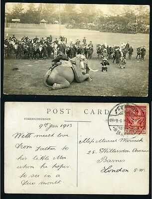 Siam Thailand elephant mounting royalty military ethnic real photo 1913 postcard