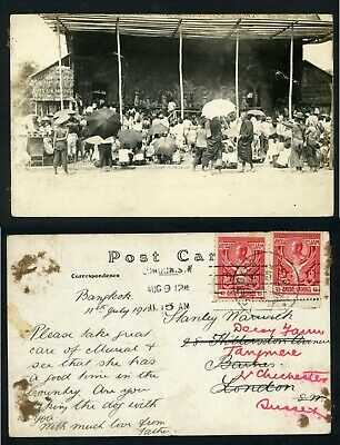 Siam Thailand ethnic natives Siamese theatre performance 1912 realphoto postcard