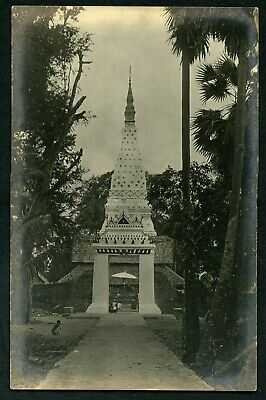 Siam Thailand Buddhist temple wat religion c1915 real photo postcard Asia