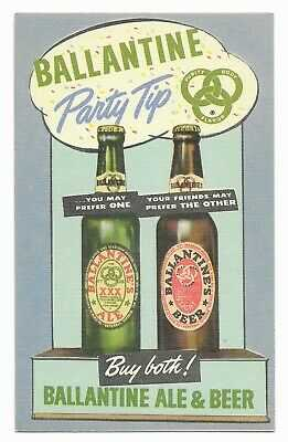 Ballantine Ale & Beer Party Tip Buy Both! Rare Advertising Linen Postcard