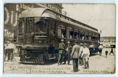 1908 Texas Traction Interurban train, Dallas-Sherman; photo postcard RPPC old